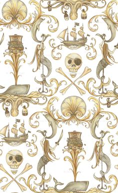 Nautical Rococo print at Spoonflower