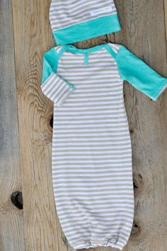 BABY BOY SLEEPSACK and Hat Set Cream Tan Stripes by Cheerfulivy