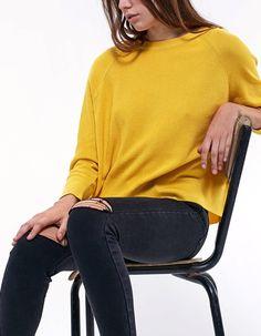 Batwing sleeve jersey with back zip detail - Knitwear Winter Sale, Batwing Sleeve, Bat Wings, Manga, Favorite Color, Knitwear, Turtle Neck, Zip, Yellow