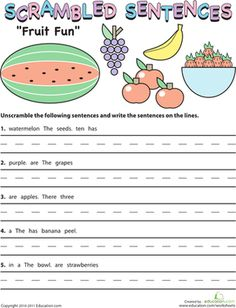 Worksheets Fun Grammar Worksheets english fun and teaching on pinterest second grade grammar worksheets scrambled sentences fruit fun