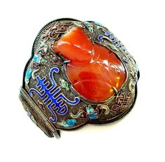 Huge Chinese Enamel Sterling Silver and Hardstone Cuff Bracelet - from thatwasthen on Ruby Lane