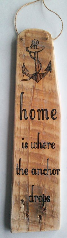 The Chic Technique: Handmade Pallet Sign – 'Home is where the anchor drops' Beach Home Decor Boat Nautical Distressed Recycled Wall Word Art Hanger No. Pallet Home Decor, Pallet Crafts, Wood Crafts, Boat Decor, Beach House Decor, Nautical Wall Art, Beach Signs, Beach Crafts, Pallet Signs