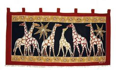This African wall hanging features a giraffe design with black background. Each item is hand painted and therefore unique.