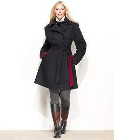 DKNY Plus Size Coat, Wool-Blend Contrast-Belted Trench Coat - Plus Size Coats - Plus Sizes - Macy's