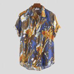 uchigiggle — permanentfilemugglethings: Mens Summer Hit Color... Loose Shirts, Henley Shirts, Stylish Shirts, Casual Shirts, Men's Fashion, Graffiti Prints, Shirt Style, Short Sleeves, Clothes