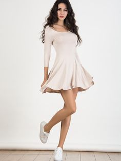 Light Khaki Scoop Neck 3/4 Sleeve Skater Dress http://www.choies.com/product/light-khaki-scoop-neck-3-4-sleeve-skater-dress_p63783%20?cid=9115jessica