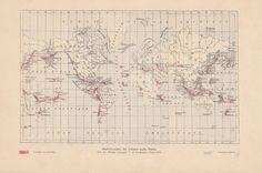 VULKANE auf der Erde Vulkan Volcano Landkarte Original Druck Antique Print 1900