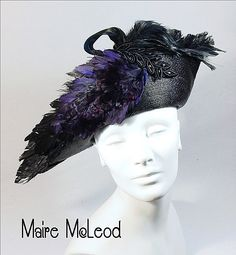 c1900 Edwardian Bicorne Style Hat *Lavish Game Bird Feathers
