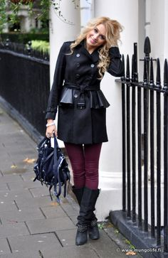 I love the black coat and the maroon leggings