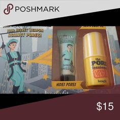 New- Benefits The POREfessional Primer Set Brand new. The Benefits POREfessional primer set. This set includes the primer which is 0.10 US fl oz. and The POREfessional License to Blot that is an instant blotting stick 3.0 mL. benefits Makeup Face Primer
