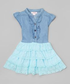 Look what I found on #zulily! Aqua Chambray Lace Dress - Toddler & Girls #zulilyfinds