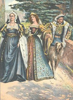 Henry VIII, Anne Boleyn and Katherine of Aragon. Anne is portrayed as young mistress.