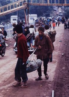 Bridge to the stage over top West Shore Rd. Woodstock Festival 1969