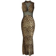 Leopard Mock Neck Sheer Mesh Sexy Mermaid Dress (28 CAD) ❤ liked on Polyvore featuring dresses, leopard, sleeveless dress, sexy dresses, mermaid gown, leopard cocktail dress and sexy mermaid dresses