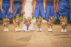 Bride and Bridesmaids in Tennis Shoes