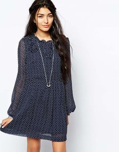 Free People Chiffon Skater Dress in Butterfly Print
