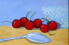 Cherries  11x14 Acrylic on stretched canvas by ARTSbyLYND on Etsy, $75.00