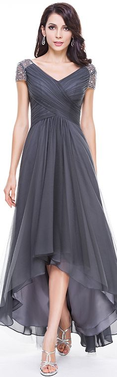 A-Line/Princess V-neck Asymmetrical Tulle Evening Dress With Ruffle Beading Sequins. On Sale, in many colours and all sizes, customisable too! #jjshouse