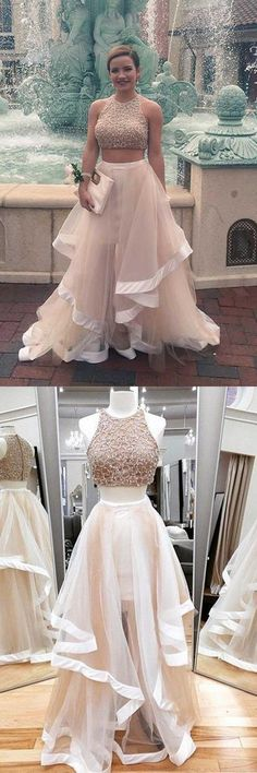 A-line Two Piece Tulle Prom Dresses Party Dresses Evening Dresses