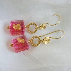 Murano Glass Square Earrings Gold Foil Glass by ElektraJewelry