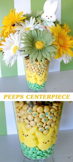 Find out how to make this pretty Easter Peeps Centerpiece using Peeps, M&M's and flowers.  And for more fun Easter Craft Ideas follow us at https://www.pinterest.com/2SistersCraft/