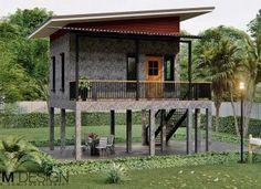 Bamboo House Design, Home Garden Design, Modern House Design, Rest House, House In The Woods, Cozy House, House On Stilts, House Roof, Modern House Plans