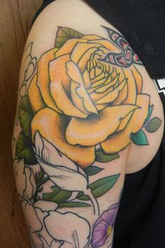 Tattoos Rose Flower Tattoo Design New The Yellow Rose Flower Tattoos, Flower Tattoo Designs, Rose Sleeve, Sleeve Tattoos For Women, Yellow Roses, Flowers, Tattoo, Florals, Flower