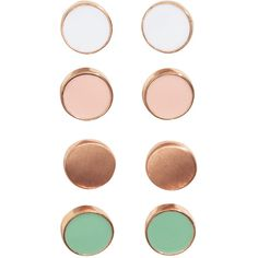 4 pairs earrings 4,99 ($5.50) ❤ liked on Polyvore featuring jewelry, earrings, round earrings, metal jewelry, earrings jewelry and metal earrings