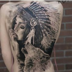 Perfect indian woman tattoo on full back