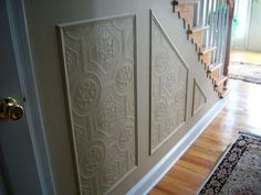 textured paintable wallpaper | The two contrasting colors and the high chair rail with wainscoting ...