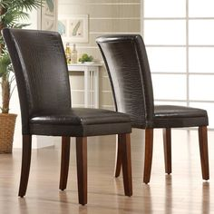 Homelegance Royal Alligator Print Faux Leather Parson Chairs - Cherry - Set of #Homelegance