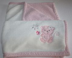 "Baby Gear little girl MONKEY Pink and Ivory Baby. This sweet Blanket has a monkey and Flowers in the Corner. Soft plush ivory topside and pink Soft Shepra underside about 28x29"" #BabyGear"