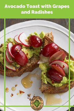 Avocado toast, with ingredients like smashed avocado, multi-grain sourdough bread, and California grapes, makes a simple and healthy vegetarian recipe. Go with this avo toast for an easy breakfast, lunch, or even dinner idea! #avocadotoastrecipe #avocadotoast #avocadotoastideas #best #breakfast #simple #healthy #howtomake #breakfasthealthy #easy #simplebreakfast #simplehealthysnacks #lunches #good #smashed #breakfastlunches #dinner #simplelunches #healthylunches #healthymornings Smart Snacks, Easy Snacks, Yummy Snacks, Healthy Snacks, Grape Recipes, Fall Recipes, Summer Recipes, Dinner Recipes, Smashed Avocado