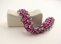 Pink Cascade Chainmaille Bracelet by dancingleafstudios on Etsy