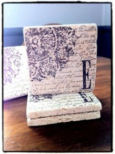 Tile coasters DIY homemade gifts This would be cute with just any paper. Also cute to make for gifts
