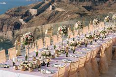 A fabulous tablescape in Santorini, #Greece! #greecewedding #destinationwedding