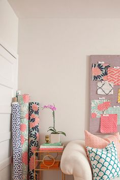 Image above: My home office is such a fun place to work! It's filled with the vibrant fabrics from my textile line, creating a naturally bright and cheerful environment. -Caitlin Wilson