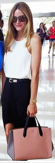 Who made Olivia Palermo's white tank top and pink handbag? - OutfitID