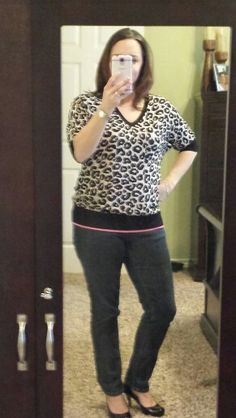 Stitchfix #4. ... fate hilde Leopard print dolman sweater (L).  Very soft and I think will be very versatile, kept