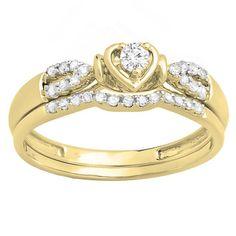 Elora 10k Gold 1/4ct TDW Round Diamond Heart Bridal Engagement Ring Matching Band Set (H-I, I1-I2) (White Gold- Size 10), Women's