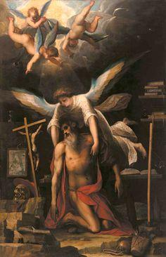 San Gerolamo sorretto da un angelo,1593, Jacopo Ligozzi