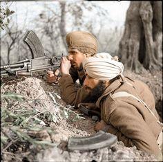 Sikh troops man a Bren gun in the line near Villa Grande, Italy, 1944
