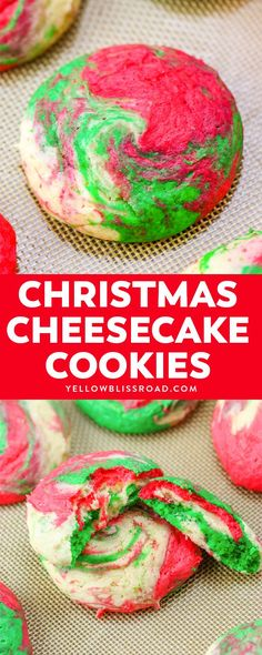 Christmas Cheesecake Cookies are creamy and tender, with a hint of peppermint. T… Christmas Cheesecake Cookies are creamy and tender, with a hint of peppermint. The red, white and green swirls make them Santa's favorite Christmas cookies, too! Christmas Sweets, Christmas Cooking, Christmas Goodies, Christmas Candy, Holiday Baking, Christmas Desserts, Holiday Treats, Holiday Recipes, Christmas Parties