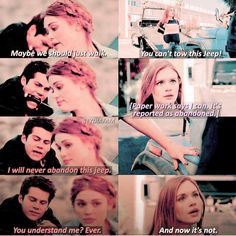 Lydia protecting Stiles's jeep