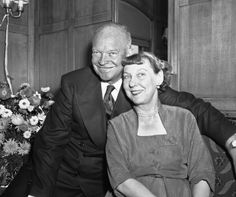 Dwight D. Eisenhower is shown with his wife, Mamie, aboard his presidential campaign train as it passed through Montana in American Presidents, Presidents Usa, Dwight Eisenhower, Insert Image, Our President, Special People, Wedding Humor, Civil Rights, Rock And Roll
