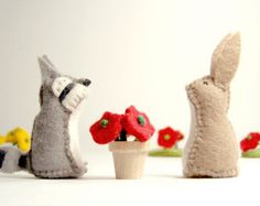 Tiny Wool Felt Flowers for Dollhouse and Play Sets