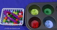 childcareland blog: Pom-Pom Muffin Tin Sorting