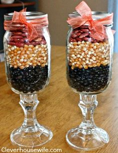 Mason Jar Wine Glasses used for Fall Decor with Dry Beans and Corn Kernels