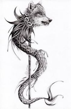 Alice Teodorescu | 21art Wolf Tattoos, Elbow Tattoos, Baby Tattoos, Arm Tattoo, Tatoos, Wolf Tattoo Design, Squid Tattoo, Mythology Tattoos, Wood Carving Patterns