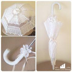 Sombrilla estilo francés de encaje deshilado color ivory